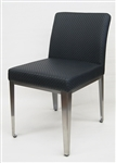 Upscale Restaurant Metal with Wood Grain Upholstered Dining Chair  INDOOR Seating