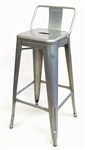 Galvanized with Low Back Bar Stool Seating
