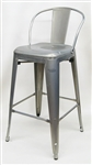 ndustrial Galvanized Silver Bar Stool Seating
