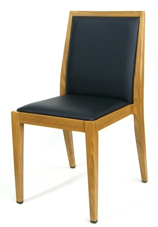 Upholstered Metal Wood Grain Dining Chair