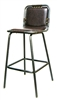 Padded Seat Industrial Metal Bar Stool with Nail Heads