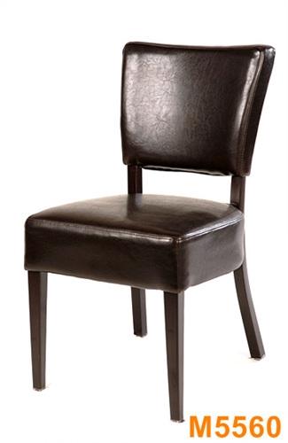 Wood Grain Metal Dining Chair W Espresso Vinyl