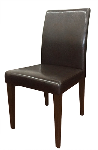 Wood Grain Metal Upholstered Dining Chair W Black Vinyl