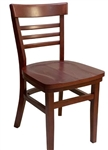 Small Ladder Back Restaurant Chair with Large Wood Seat: called Steak House Chair