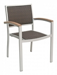 Outdoor Wicker Restaurant Teak Arm Chair