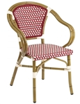 Rattan Bistro Aluminum Arm Chair.  BORDEAUX/ivory, BLUE/Ivory, or BROWN/Ivory Rattan Aluminum Arm Chair