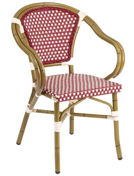 Rattan Bistro Aluminum Arm Chair. BORDEAUX/ivory, BLUE/Ivory, Or BROWN