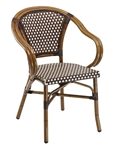 Rattan Chocolate/Ivory Outdoor Alum. Arm Chairs.  BORDEAUX/ivory, BLUE/Ivory, or BROWN/Ivory Rattan Aluminum Arm Chair