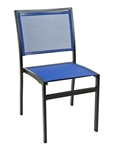 Outdoor Restaurant Blue/Black Mesh Batyline Restaurant Chairs