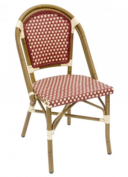 French Cafe Bistro Rattan Burgundy Chair W Bordeaux Ivory