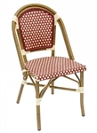 Rattan Bistro Aluminum Chairs w Burgundy Ivory Glossy Weave