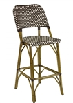Outdoor Patio Restaurant Furniture; Rattan Bistro Aluminum Chairs w Brown Ivory Glossy Weave