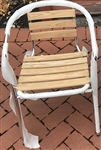 Cafe Bistro Seating; All Weather Teak Wood Slat Chair with Anodized Frame @ comfortable prices.  Cafes, Restaurants, Commercial Seating