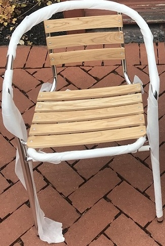 bistro chair glides teak wood slat arm chair affordable pricing
