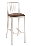 Navy Brushed Aluminum Bar Stool with stretchers, and Padded seat heavy weight.