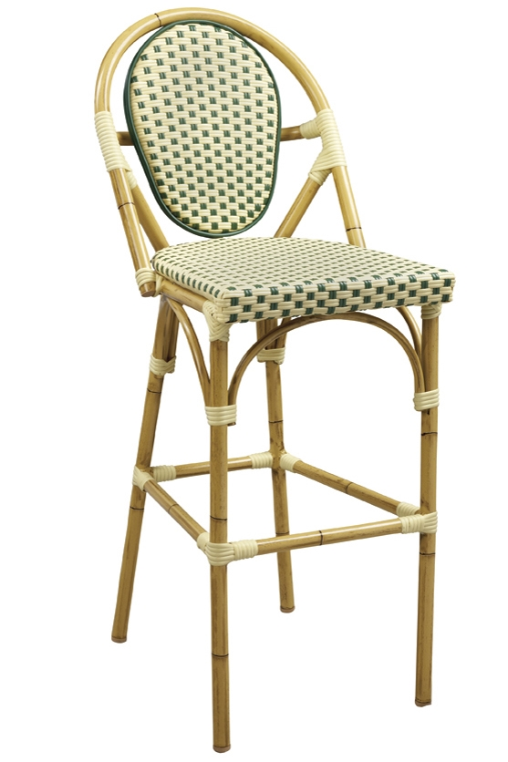 Rattan Bamboo Bistro Aluminum Frame Bar Stools In Beige Green