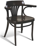 Bent-Wood Arm Chair; European Beech Fan Back Upholstered Dining Chair