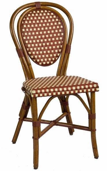 Frenchie De Bistro Rattan Wood Chair W/ Bordeaux/Creme Weave
