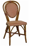 Frenchie De Bistro Rattan Wood Chair w/ Bordeaux/Creme weave