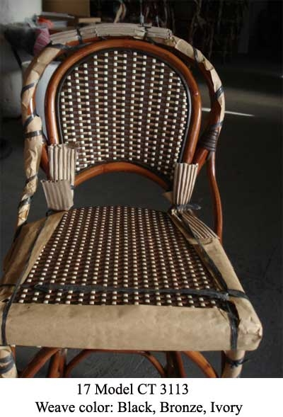 Authentic French Rattan WOOD Bistro Chair. Tri Color Weave: Dark Brown,  Bronze,