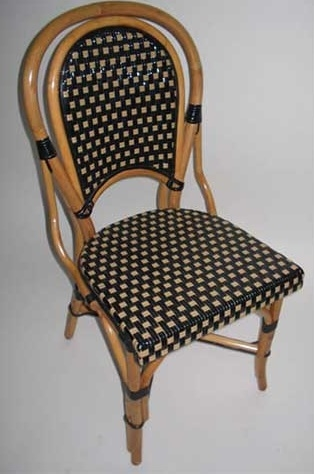 Frenchie De Bistro Rattan Bistro Wood Dining Chairs Black