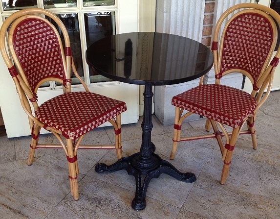 High Quality Rattan Wood Bistro Chair Frame With Colorful Combination Of Bordeaux/Beige  Glossy Weave