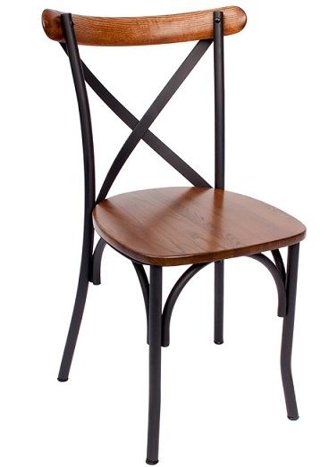 French cafe chairs rattan - Cross Back Industrial Metal Wood Chair