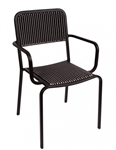 Outdoor Bistro Black White Weave Chair