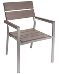 Teak Slat Soft Grey ARM Chair: