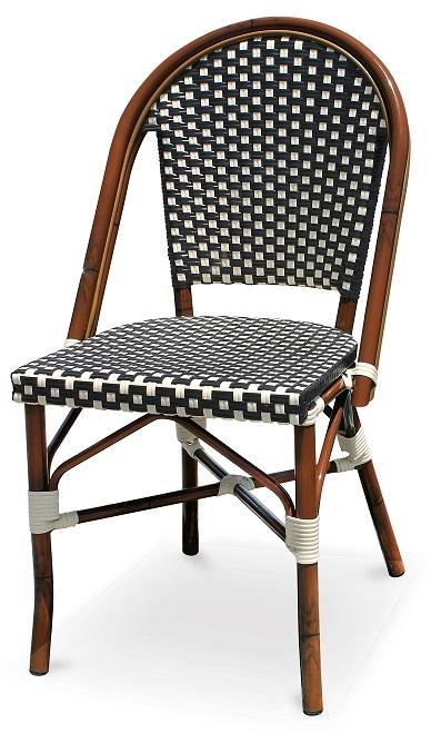 Black Amp White Rattan Bistro Aluminum Chairs