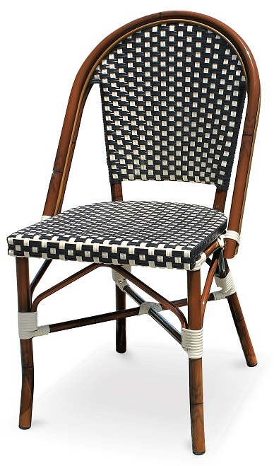 Black Amp White Rattan Bistro Aluminum Chairs