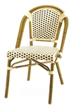 "French Cafe Aluminum Restaurant Chair; Dark Bmboo with Ivory/Chocolate ""High Density"" weave"