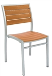 Synthetic Teak Slat Wood Side Chair with Grey Finish @ affordable price