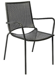 Black Mesh Iron Side Chair; Outdoor Dining Arm Chair