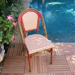 Rattan Bistro Chairs Ivory Bordeaux weave
