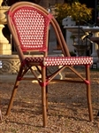 French Cafe Bistro Aluminum Chair- Burgundy Ivory