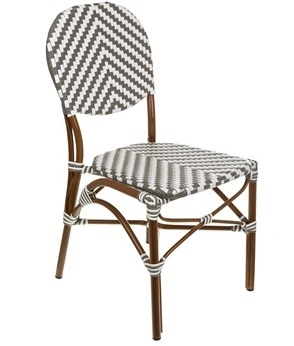 French Cafe Bistro Aluminum Chair  Grey Ivory
