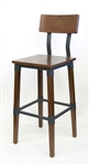 Industrial Bar Stools; Metal Frame with Lt Walnut Wood Seats