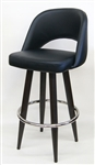 Black Upholstered Restaurant Metal Bar Stool