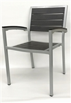 Teak Arm Chair Black Slat with Silver Frame