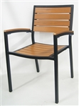 Teak Wood Arm Chair with Grayish Faux Slats