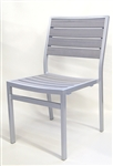 Restaurant Teak Faux Gray Gray Side Aluminum Chairs