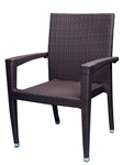 Coffee Wicker Arm Chair