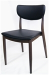 Metal Walnut Wood Grain Black Pad Restaurant Dining Chair