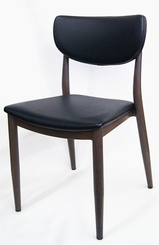 Modern Walnut Wood Metal Padded Dining Chair