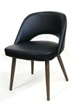 "Black Upholstered Seat & Back; 2"" thick seat, and Walnut Grain Metal Legs,"