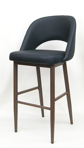 02 5670 Upholstered Black Wood Grain Metal Bar Stool