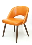 Modern Wood Grain Metal Upholstered Chair