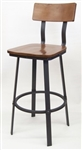 Industrial Bar Stool w Black Walnut Saddle Seat
