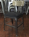 Industrial Pewter Metal Chair with Padded chair